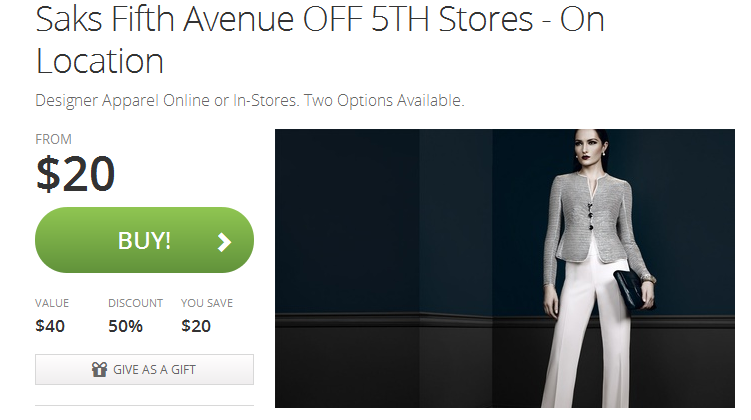 saks off fifth $20 off