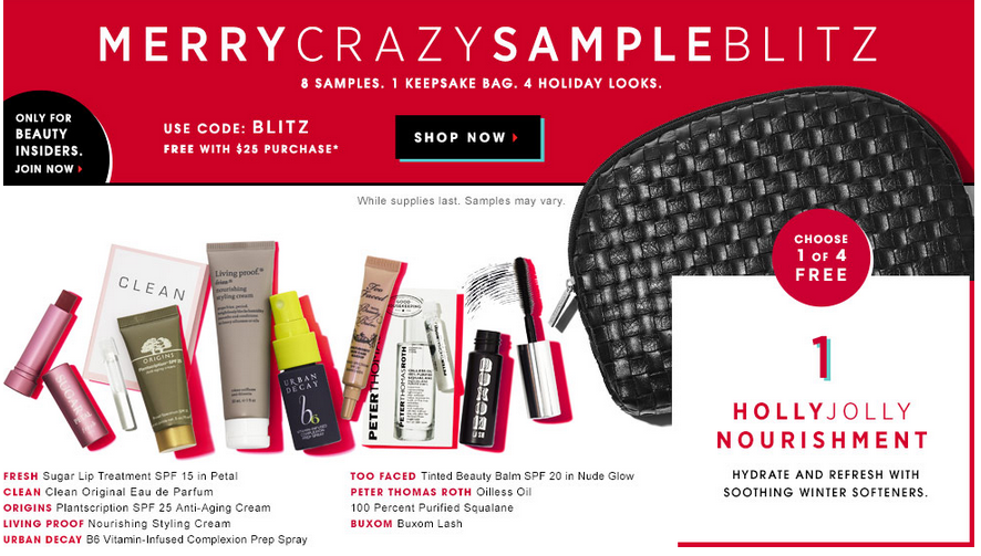 Sephora Choose 1 Of 3 Fabulous Holiday Sample Bag Sets With Your 25 Purchase