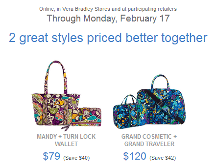Vera Bradley  Weekend Deals + Special Combo Pricing + 30% Off Select ... 5c3bfe4b75c6a