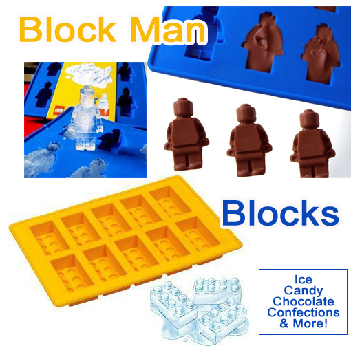 Lego Man or Blocks Style Silicone Ice Cube / Baking Mold ONLY ...