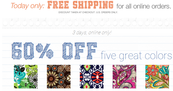 Vera Bradley does not offer free shipping, but they do frequently offer free shipping promotions on orders of a certain amount such as free shipping on $75+. About Vera Bradley Vera Bradley has been providing consumers with stylish, quality luggage, handbags and accessories for over 20 years.