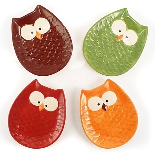 sc 1 st  Living Chic on the Cheap & 13Deals.com: Set of 4 Ceramic Owl Plates for $8.99 (Reg $18.99)