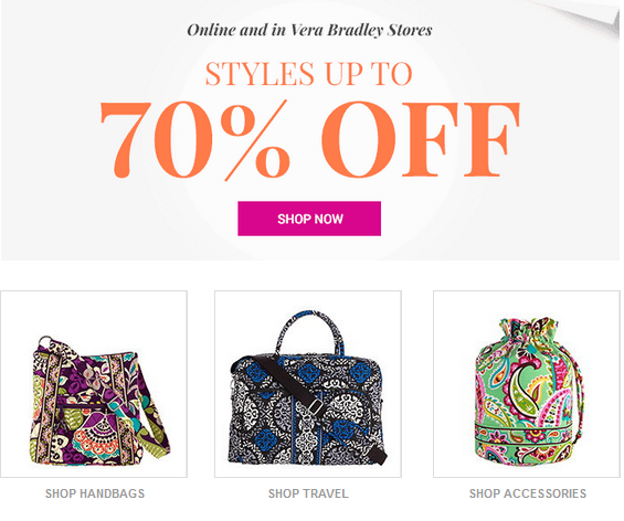 593bcf885c You can get up to 70% off Select Styles Today and Tomorrow ONLY (October  20th-21st) on VeraBradley.com
