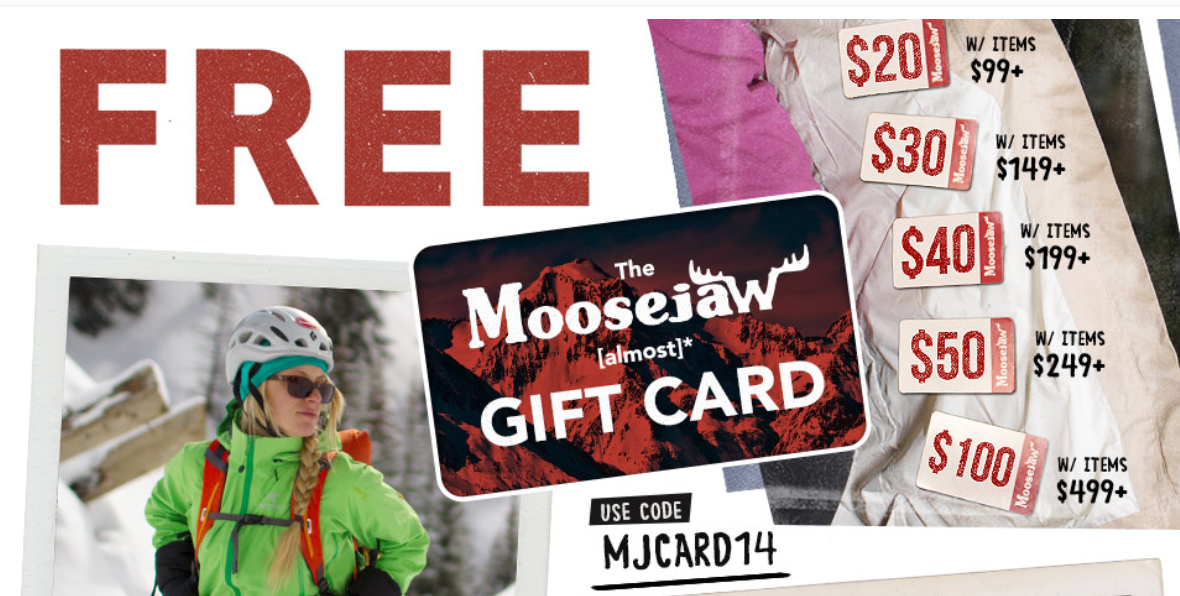 Moosejaw want to make shopping as much fun as backpacking the Chilkoot trail, climbing in Yosemite, mountaineering in the Himalayas or playing red rover with the neighbors who you don't like that much but they're always ready to play any game in the cul-de-sac so you make do.