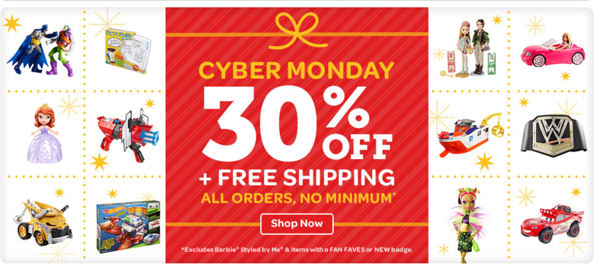 Cyber Monday Thanks for stopping by! Cyber Monday is now over. Bookmark this page and come back next year to find all the best deals on gifts and popular holiday products.