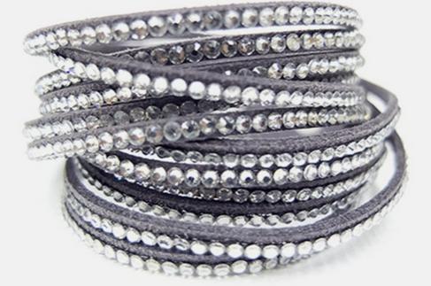 Chic Vegan Leather Swarovski Crystal Wrap Bracelet 12 Color