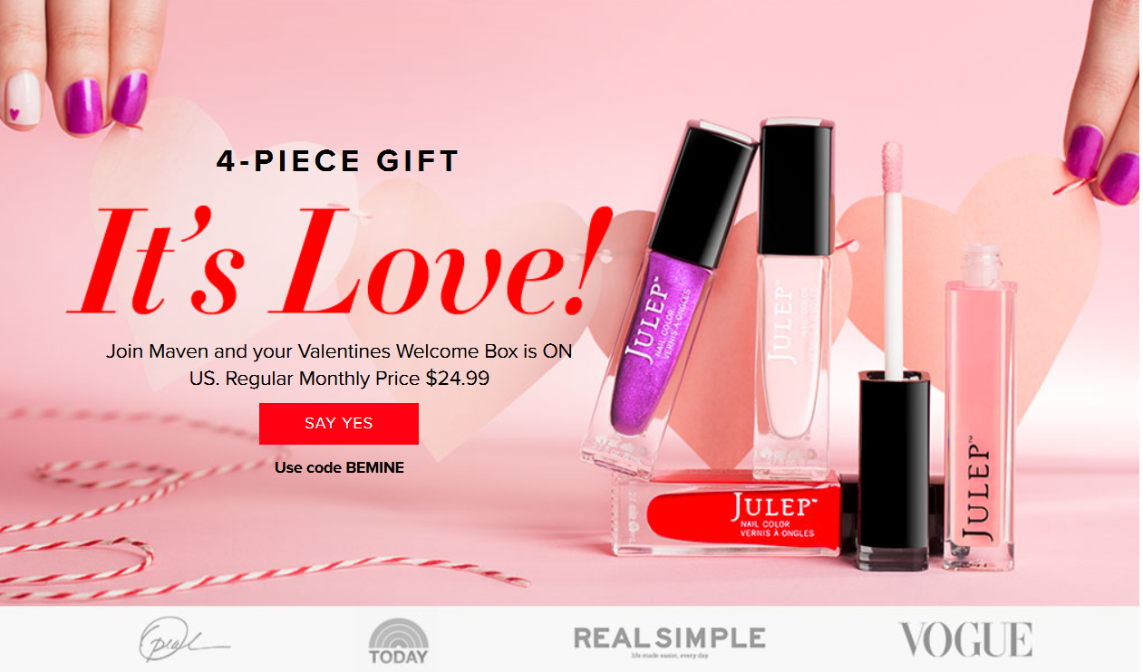 FREE 4-Piece Valentine\'s Day Welcome Julep Maven Beauty Box (New ...