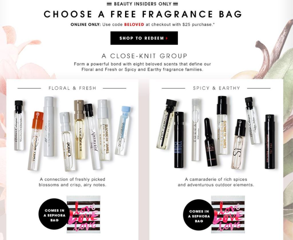 Sephora: FREE Fragrance Sampler Bag with Your $25 or More Purchase ...