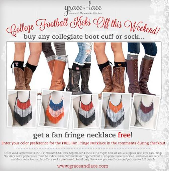 35dead005bc70 Kick Off College Football Weekend with Grace & Lace · Buy Any Collegiate  Boot Cuff or Sock ...