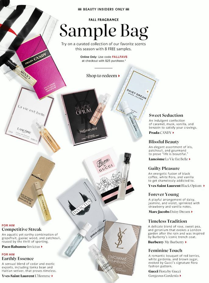 6d7c47ede5e Sephora.com  FREE Fall Fragrance Sample Bag with Your  25 or More Purchase