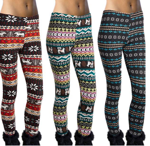 c681907eb42 Tanga  Women s Furry Lined Fleece Leggings (Winter Patterns)  8.99 + ...