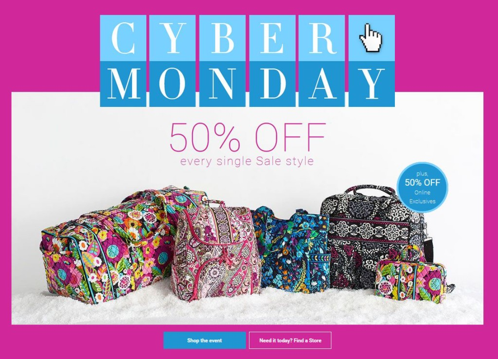 Vera Bradley Cyber Monday  50% Off Sale Items + Free Shipping   More! 722b9305844d0