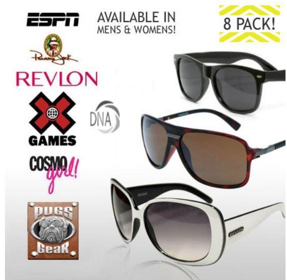 13Deals.com: 8 Pack Of Name Brand Sunglasses $9.99 + Free