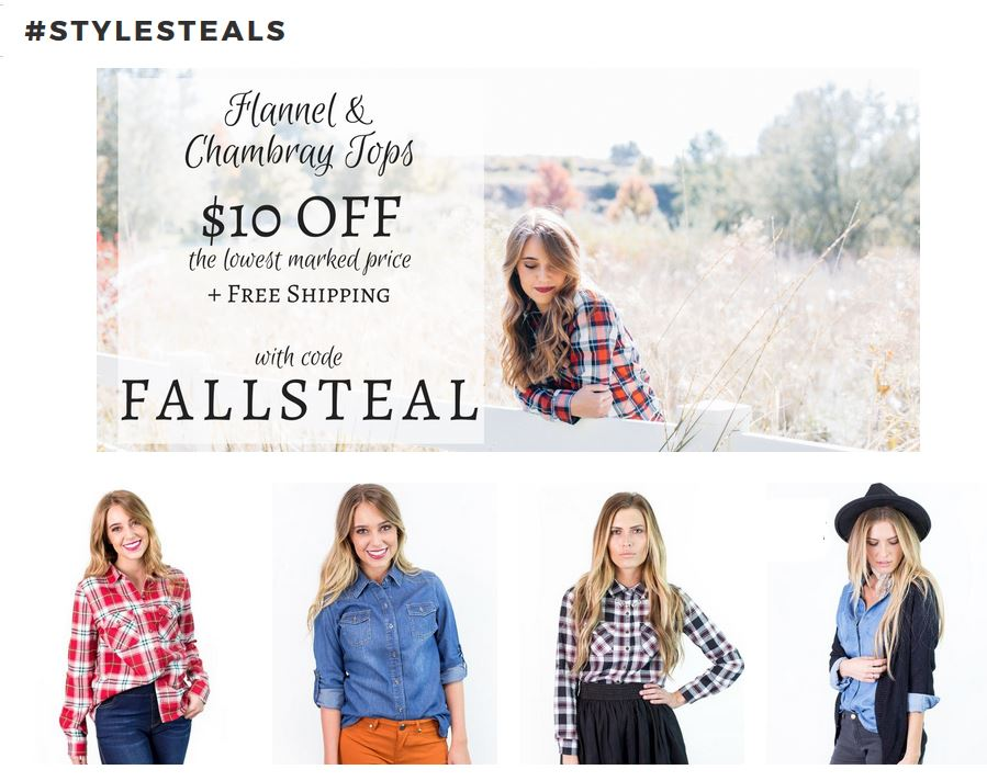 Clothing deals archives living chic on the cheap its mondaywhich means cents of style had a new style steals for us today the code is fallsteal will take 10 off flannels chambrays free shipping fandeluxe Choice Image